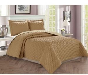 Elegant Comfort Luxury 3-Piece Bedspread Coverlet Diamond Design Quilted Set with Shams - Full/Queen Bedding