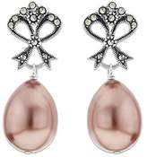 Ornami Sterling Silver Large Marcasite Glass Pearl Oval Drop Earring Studs