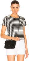 Amo Twist Tee in Black,Stripes.