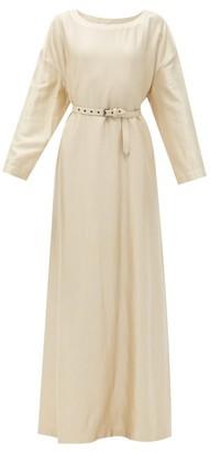 Zanini Belted Brushed-satin Maxi Dress - Cream