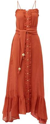 Lisa Marie Fernandez Ruffled Tie-waist Linen-blend Dress - Womens - Red