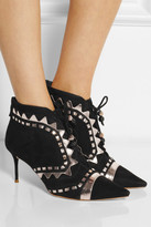 Webster Sophia Riko metallic leather-trimmed suede ankle boots