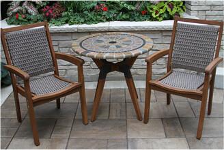 Outdoor Interiors 3Pc Sandstone, Eucalyptus & Metal Bistro Set
