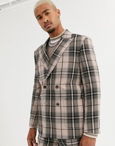 Asos DESIGN boxy double breasted suit jacket in camel check