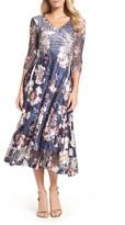 Komarov Women's Print Charmeuse & Lace A-Line Dress