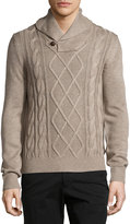 Neiman Marcus Fisherman Shawl-Collar Sweater, Desert Sand