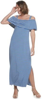 Nina Leonard Women's Popover Knit Striped Maxi Dress With Detachable Straps