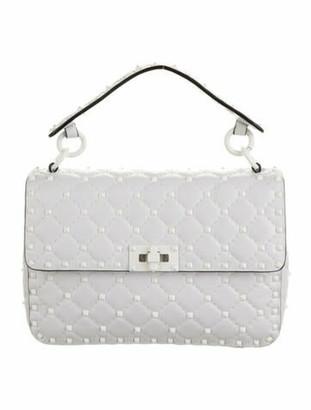 Valentino Leather Studded Shoulder Bag White