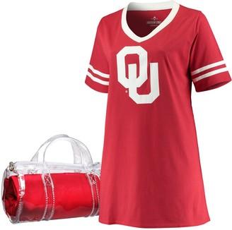 Unbranded Women's Crimson Oklahoma Sooners Plus Size Football Jersey Night Dress & Mini Duffel Bag Set