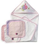 SpaSilk Hooded Towel with Matching Washcloths - Fish