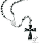 """Zales Men's Shaquille O'Neal Rosary Necklace in Two-Tone Stainless Steel - 24"""""""