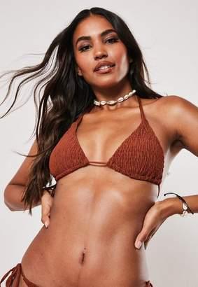 Missguided Crinkle Triangle Bikini Top
