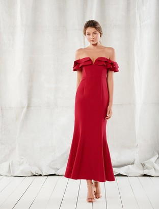 Forever New Lulu Ruffle Off-Shoulder Gown - Red - 4