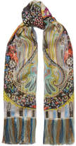 Etro Fringed Printed Metallic Silk-chiffon Scarf - Mint