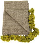 One Kings Lane Vintage Gray & Green Moroccan Pom-Pom Blanket