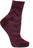 Missoni Metallic Crochet-knit Socks - Magenta