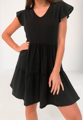 Missguided Black Broderie Anglaise Sleeve Tiered Smock Dress