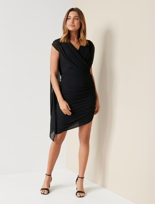 Forever New Miriam Ruched Drape Dress - Black - 4
