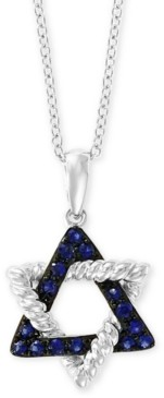"""Effy Sapphire Star of David 18"""" Pendant Necklace (1/5 ct. t.w.) in 14k White Gold"""