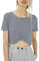 Topshop Twist Front Stripe Crop Top