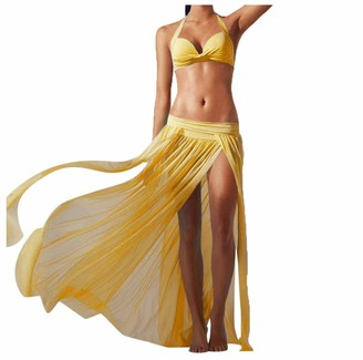 Joyjay Clothing Women's Sheer Chiffon Split Maxi Skirt Boho Long Beach Cover Ups Dress Swimwear JoyJay Amazon's Choice-UK (Yellow )