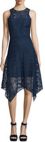 Parker Melissa Handkerchief-Hem Lace Dress, Stealth