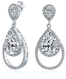 Bling Jewelry Teardrop CZ Halo Dangle Prom Pageant Statement Earring Silver Plated