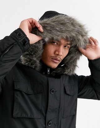 Asos Design DESIGN hooded parka with detachable faux fur trim in black