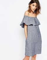 Warehouse Linen Mix Bardot Ruffle Dress