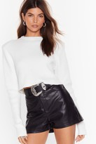 Nasty Gal Womens Faux Leather Let You Go High-Waisted Shorts - black - 10