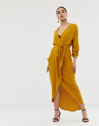 Club L London ruched detail maxi dress-Yellow