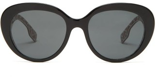 Burberry Tb Monogram-print Round Acetate Sunglasses - Womens - Black