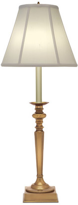 Stiffel Antique Brass Buffet Lamp with Silk Shade