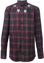 Givenchy star print plaid shirt