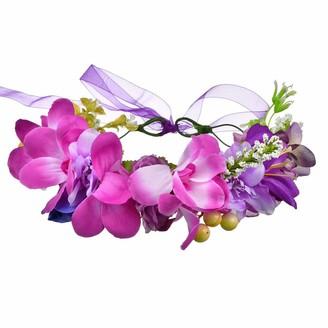 YAZILIND Wedding Bridal Flower Wreath Bridesmaid Headdress Crown Beach Floral Garland Photo Props Headband(Purple)