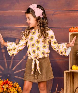 Mia Belle Girls Girls' Casual Skirts Brown - Pink & Yellow Sunflower Ruffle-Sleeve Top & Brown Button-Front Skirt - Toddler & Girls