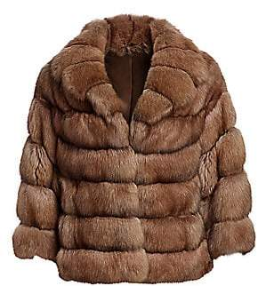 The Fur Salon Women's Sable Fur Collared Jacket
