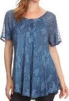 Sakkas 16788 - Maliky Wide Corset Neck Floral Embroidered Cap Sleeve Blouse Top Shirt - OSP