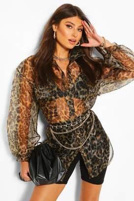 boohoo Leopard Print Organza Long Sleeve Shirt