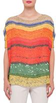 Akris Short-Sleeve Floral-Print Top, Multi Colors