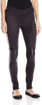 Angie Women's Juniors Black Suede Front Leggings Small