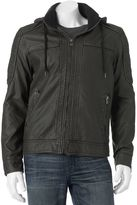 X-Ray Men's XRAY Faux-Leather Hooded Moto Jacket