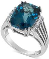 Macy's Blue Topaz (7 ct. t.w.) & Diamond (1/5 ct. t.w.) Ring in 14k White Gold