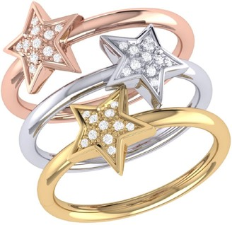 Lmj Tri Color Dazzling Star Detachable Ring In 14 Kt Yellow & Rose Gold Vermeil On Sterling Silver