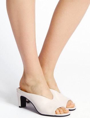 Marks and Spencer Leather Platform Open Toe Mules
