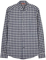 Barena Navy And Grey Checked Flannel Shirt