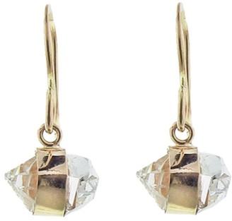 Melissa Joy Manning Herkimer Diamond Bezel Wrap Yellow Gold Drop Earrings