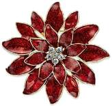 """Charter Club Gold Tone Red Epoxy Crystal Poinsettia Pin (2"""" x 2 Holiday Lane"""