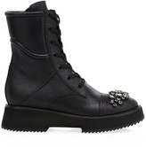 Jimmy Choo Hadley Crystal-Embellished Leather Combat Boots