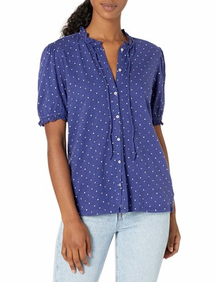 Lucky Brand Women's Short Sleeve Ruffle Neck Printed Button Down Shirt